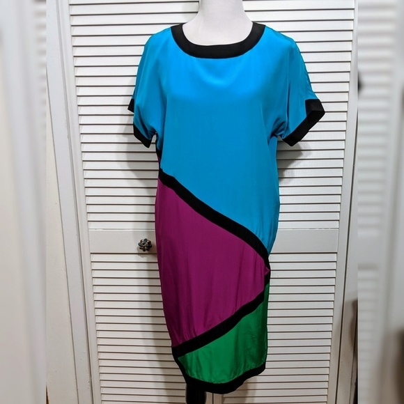 Vintage Dresses & Skirts - Vintage Silk Colorblock Midi Dress